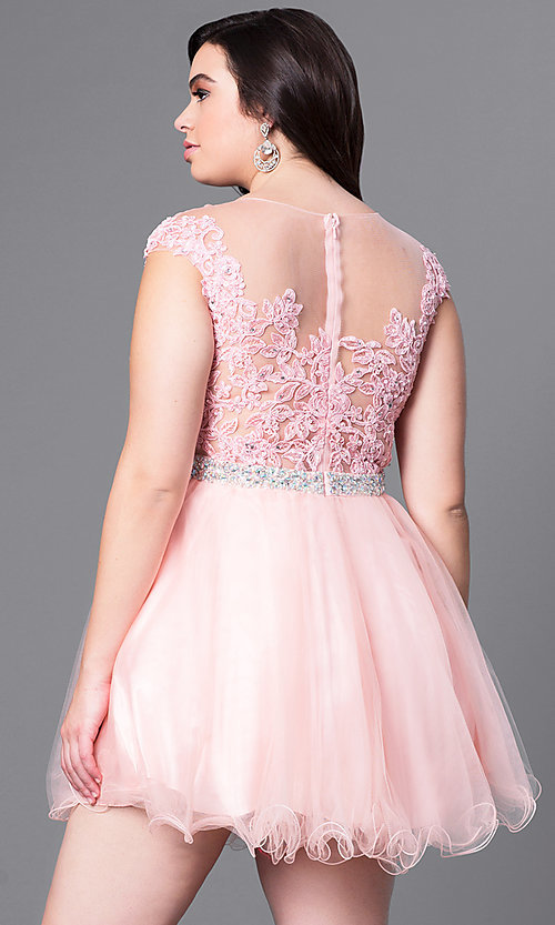 Image of plus-size short homecoming party dress with beading. Style: DQ-9489P Back Image