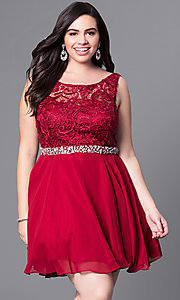 Image of plus-size short party dress with lace bodice. Style: DQ-9659P Detail Image 1