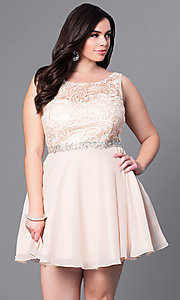 Image of plus-size short party dress with lace bodice. Style: DQ-9659P Front Image
