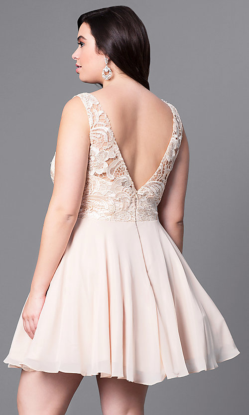 Image of plus-size short party dress with lace bodice. Style: DQ-9659P Back Image