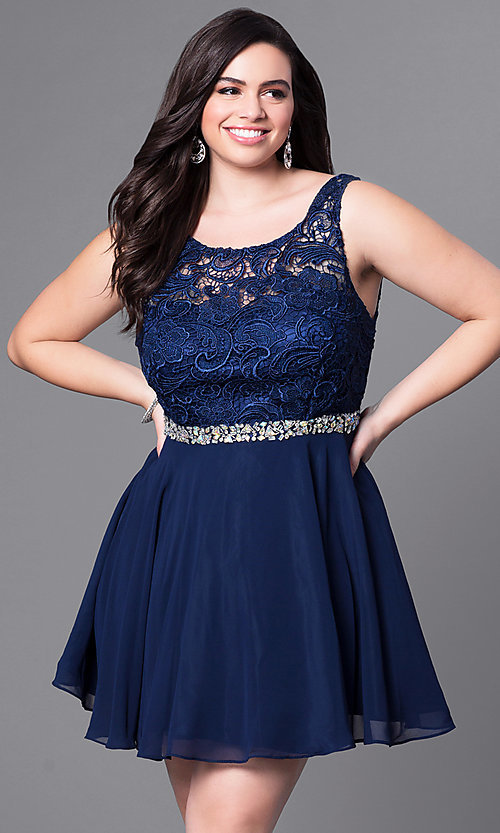 Image of plus-size short party dress with lace bodice. Style: DQ-9659P Detail Image 3
