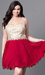 Image of illusion plus-size short party dress with beading. Style: DQ-9552P Front Image