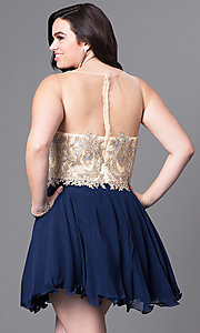 Image of illusion plus-size short party dress with beading. Style: DQ-9552P Back Image