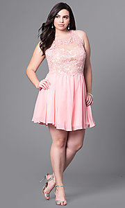 Image of plus-size short party dress with beaded-lace bodice. Style: DQ-9102P Detail Image 1