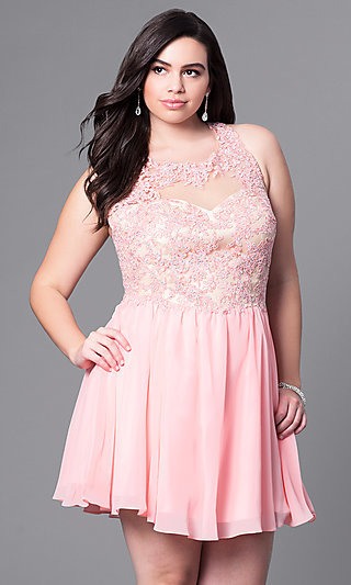 Plus-Size Short Party Dress with Beaded-Lace Bodice