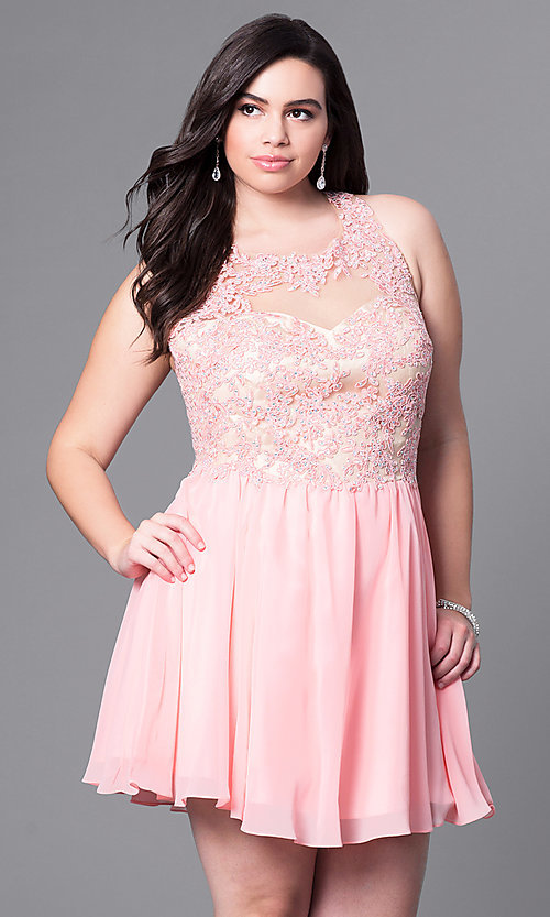 Image of plus-size short party dress with beaded-lace bodice. Style: DQ-9102P Front Image