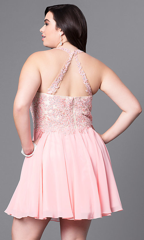 Image of plus-size short party dress with beaded-lace bodice. Style: DQ-9102P Back Image