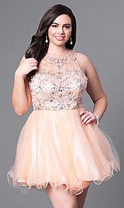 Image of fit-and-flare plus-size short party dress with beads. Style: DQ-9179P Front Image