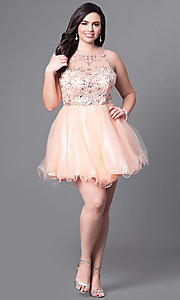 Image of fit-and-flare plus-size short party dress with beads. Style: DQ-9179P Detail Image 1