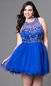 Image of fit-and-flare plus-size short party dress with beads. Style: DQ-9179P Detail Image 3