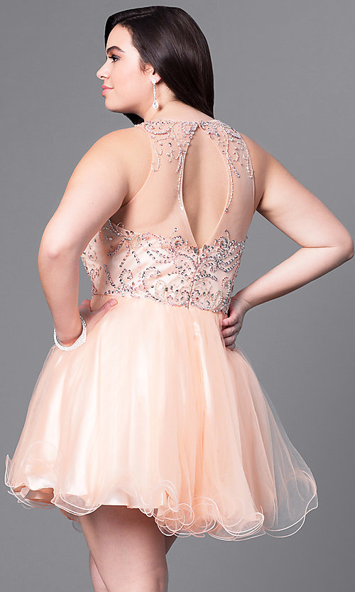 Image of fit-and-flare plus-size short party dress with beads. Style: DQ-9179P Back Image