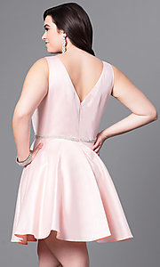 Image of short semi-formal plus-size party dress with v-neck. Style: DQ-9504P Back Image