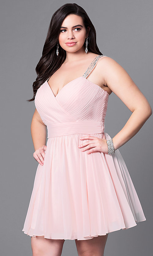 Image of corset-back short plus-size party dress with beading. Style: DQ-9472P Detail Image 1
