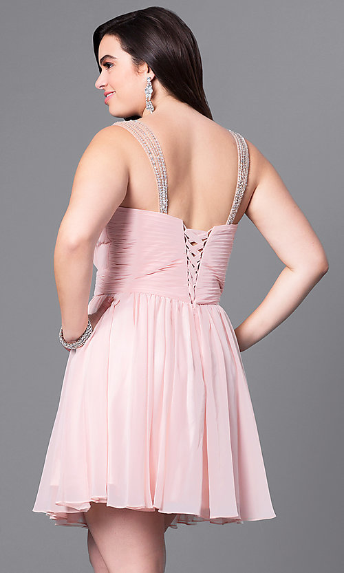 Image of corset-back short plus-size party dress with beading. Style: DQ-9472P Back Image