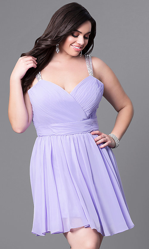 Image of corset-back short plus-size party dress with beading. Style: DQ-9472P Front Image