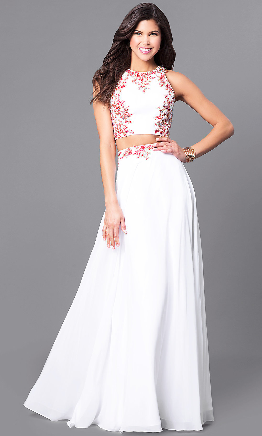 big collection street price quality design Off White Two-Piece Long Prom Dress with Red Lace