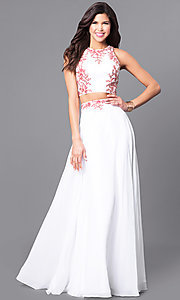 Image of off white two-piece long prom dress with red lace. Style: DQ-9911 Front Image