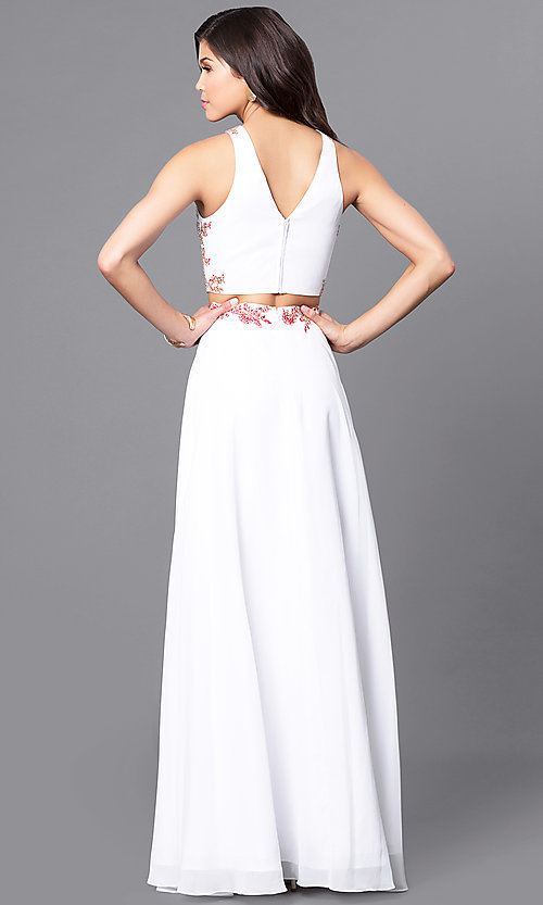 Image of off white two-piece long prom dress with red lace. Style: DQ-9911 Back Image