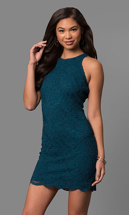 Image of peacock blue short lace cocktail party dress.  Style: JU-49967 Front Image