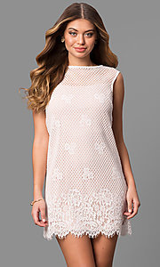 Image of lace short shift party dress with scalloped hemline. Style: JU-49981 Front Image