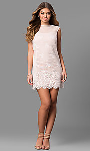 Image of lace short shift party dress with scalloped hemline. Style: JU-49981 Detail Image 1