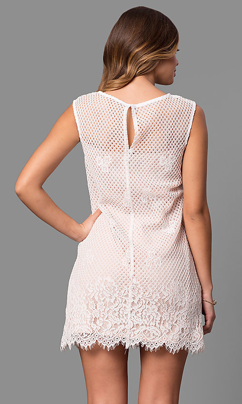 Image of lace short shift party dress with scalloped hemline. Style: JU-49981 Back Image