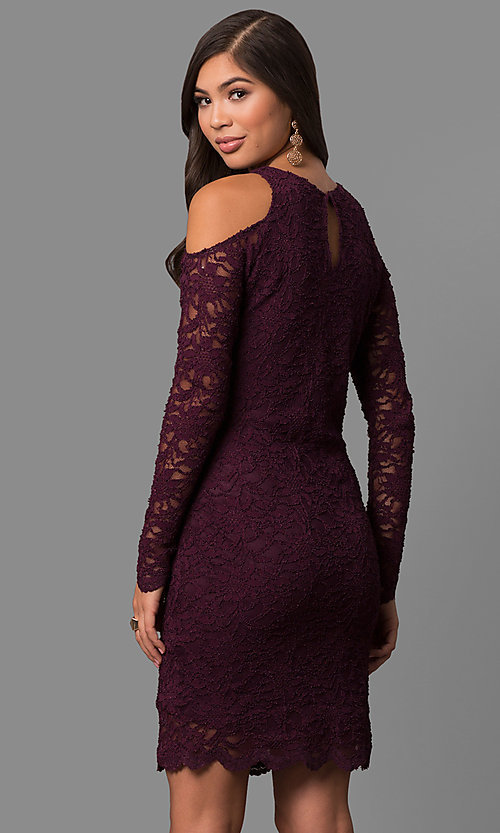 2f7c825e52 Image of long-sleeve lace cold-shoulder short party dress. Style  JU