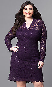 Image of plus-size short lace party dress with long sleeves. Style: JU-MA-291800 Front Image