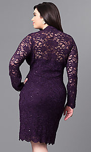 Image of plus-size short lace party dress with long sleeves. Style: JU-MA-291800 Back Image