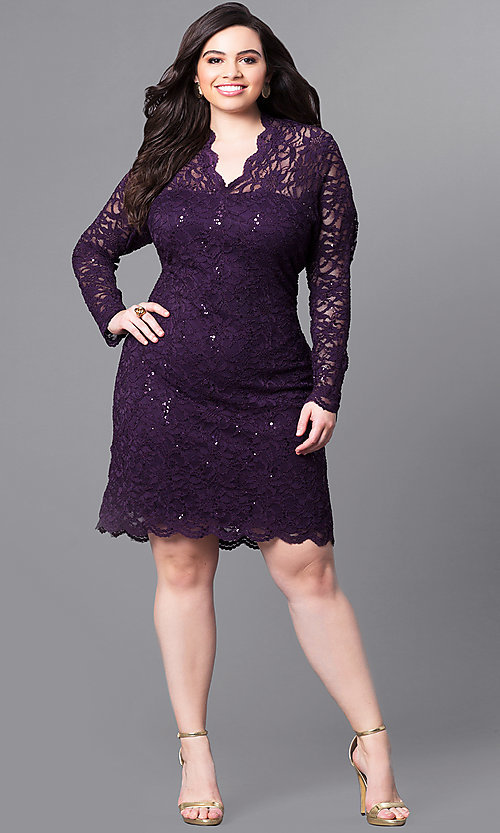 Image of plus-size short lace party dress with long sleeves. Style: JU-MA-291800 Detail Image 1
