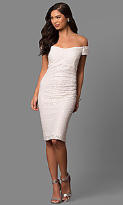 Image of ivory lace short off-the-shoulder party dress. Style: SD-S277301 Detail Image 1