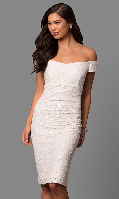 Image of ivory lace short off-the-shoulder party dress. Style: SD-S277301 Front Image