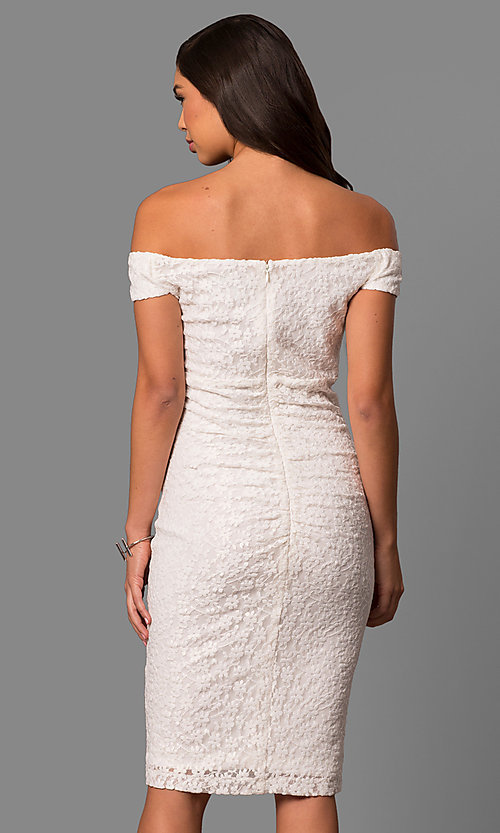 Image of ivory lace short off-the-shoulder party dress. Style: SD-S277301 Back Image