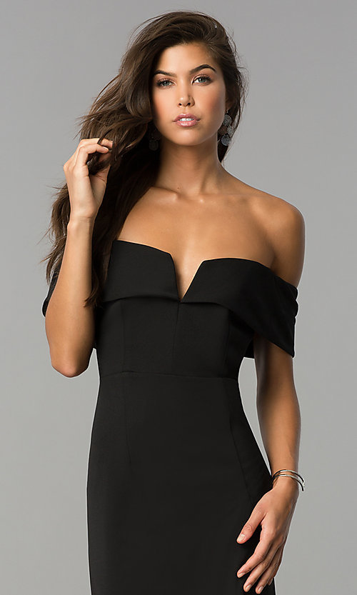 Image of off-the-shoulder midi party dress with side slit. Style: SD-S278250 Detail Image 1
