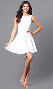 Image of cut-out semi-formal short white party dress. Style: CH-2420-W Detail Image 1