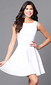 Image of cut-out semi-formal short white party dress. Style: CH-2420-W Back Image