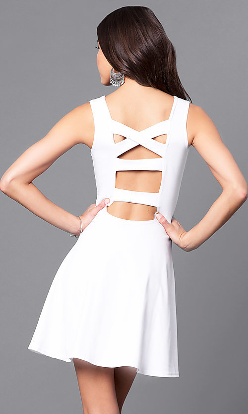 Image of cut-out semi-formal short white party dress. Style: CH-2420-W Front Image