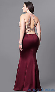 Image of mermaid-style long plus-size prom dress with beading.  Style: DQ-9706P Back Image
