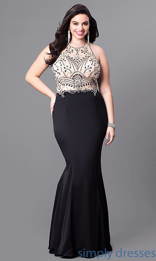 Image of mermaid-style long plus-size prom dress with beading.  Style: DQ-9706P Front Image