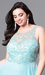 Image of open-back plus-size long prom dress with beading.  Style: DQ-9474P Detail Image 1