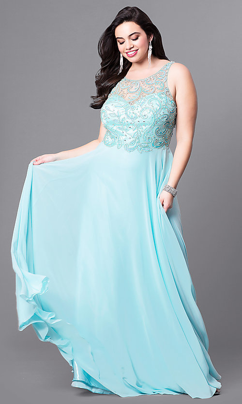 Image of open-back plus-size long prom dress with beading.  Style: DQ-9474P Front Image