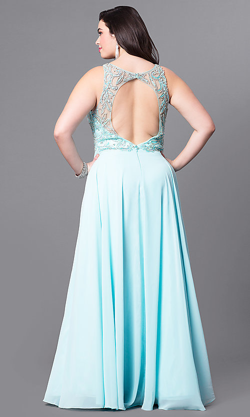 Image of open-back plus-size long prom dress with beading.  Style: DQ-9474P Back Image