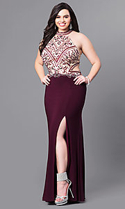 Image of long plus-size eggplant prom dress with beaded bodice. Style: FB-GL2282P Front Image