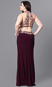 Image of long plus-size eggplant prom dress with beaded bodice. Style: FB-GL2282P Back Image