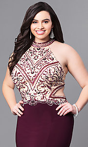 Image of long plus-size eggplant prom dress with beaded bodice. Style: FB-GL2282P Detail Image 1