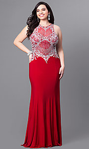 Image of long plus-size prom dress with beaded embroidery. Style: FB-GL2232P Front Image