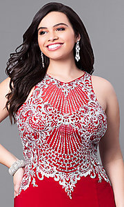 Image of long plus-size prom dress with beaded embroidery. Style: FB-GL2232P Detail Image 1