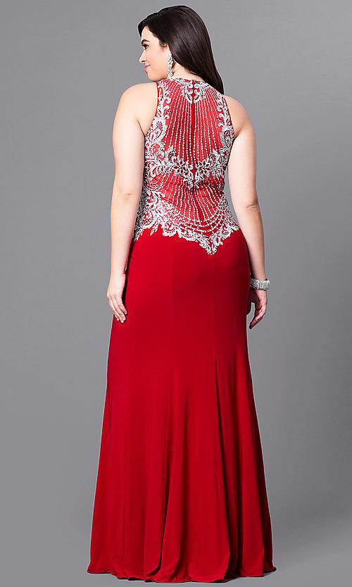 Image of long plus-size prom dress with beaded embroidery. Style: FB-GL2232P Back Image