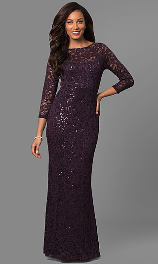 Mother-of-the-Bride Lace Formal Dress with Sleeves