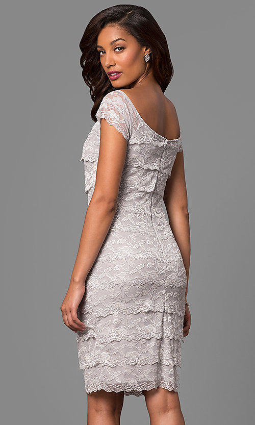 Image of tiered-lace short sheath mother-of-the-bride dress. Style: JU-MA-263295 Back Image